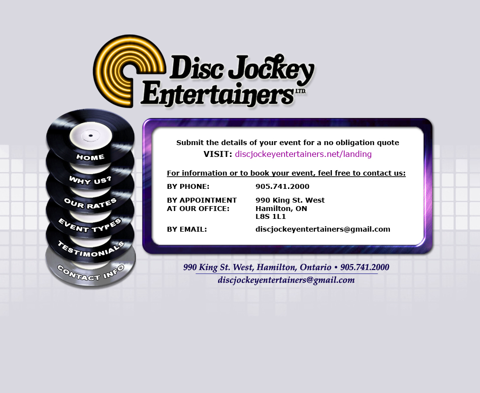 Disc Jockey Entertainers - Contact Information