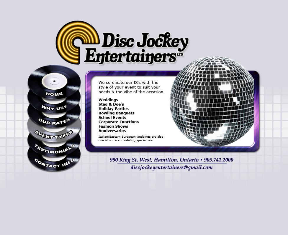 Disc Jockey Entertainers - Event Types