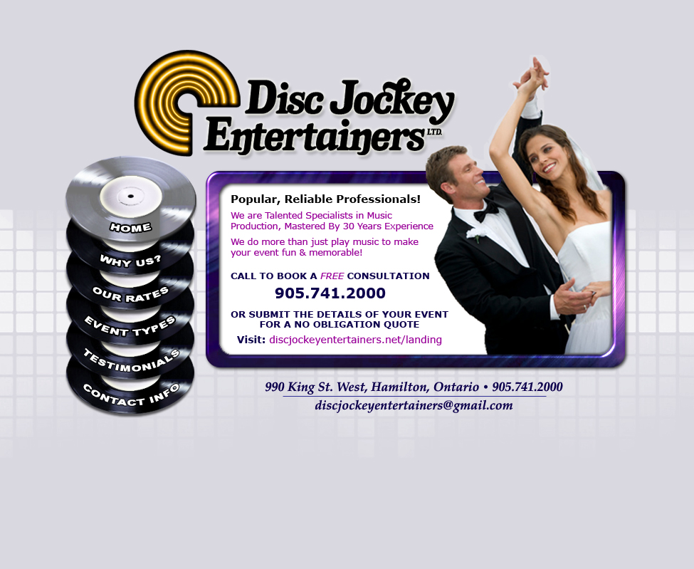 Disc Jockey Entertainers - Hamilton's Popular Professional Disc Jockeys