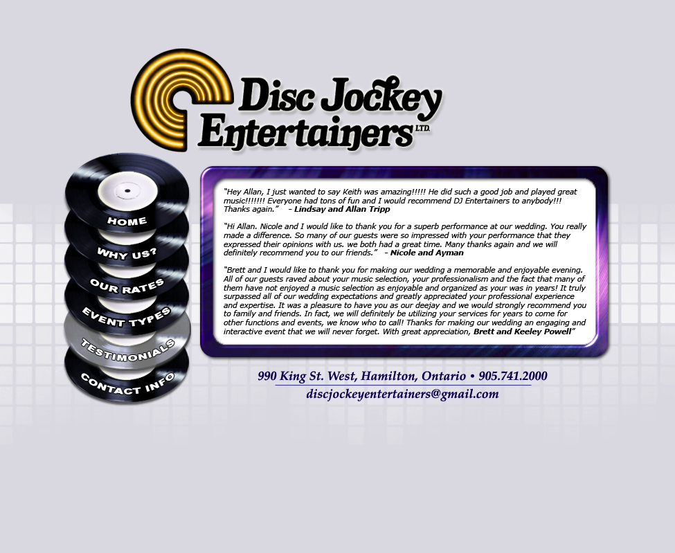 Disc Jockey Entertainers Testimonials